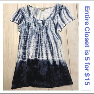 Live and Let Live Blue Tie Dye Boho Shirt Top